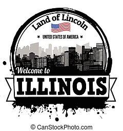 Illinois vintage stamp with text Land of Lincoln written inside, vector illustration