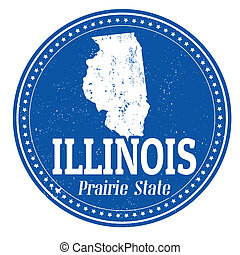 Vintage stamp with text Prairie State written inside and map of Illinois, vector illustration