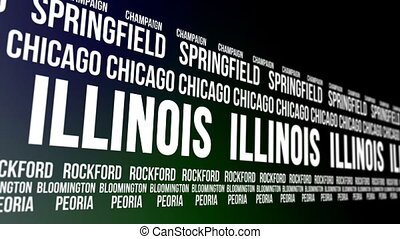 Illinois State and Major Cities - Animated scrolling banner...