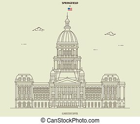 Illinois State Capitol in Springfield, USA. Landmark icon in linear style