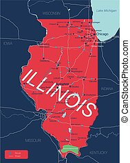 Illinois state detailed editable map