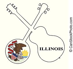 Illinois State Flag Banjo And Guitar Silhouette