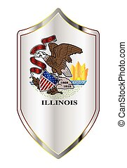 Illinois State Flag On A Crusader Style Shield