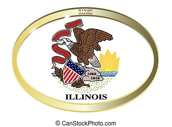 Illinois State Flag Oval Button