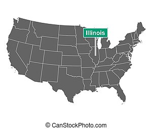 Illinois state limit sign and map of USA