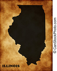 Illinois state map on the old texture