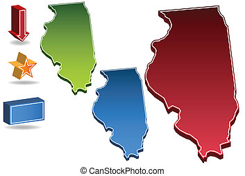 Illinois State map icons.