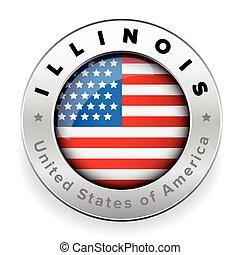 Illinois Usa flag badge button