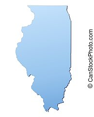 Illinois(USA) map filled with light blue gradient. High...