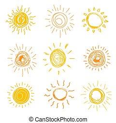 illistration., ensemble, soleil, main, vecteur, dessiné, style.