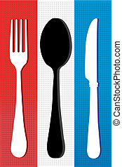set of cutlery - illistration of set of cutlery on colorful...