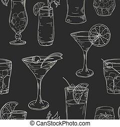 illlustration, elements., modèle, seamless, main, cocktails, arrière-plan., vecteur, dessiné, blanc