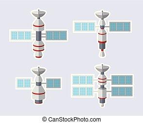 Set of satellite icon isolated on white background