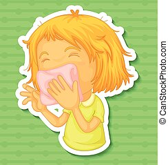 Illness - Closeup sick girl covering her mouth with napkin