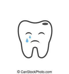 Illness crying tooth image. Line illustration. EPS 10