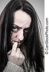 illness, disturbed woman alone portrait