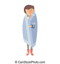 Illness flu woman feeling cold and blowing his nose vector illustration.