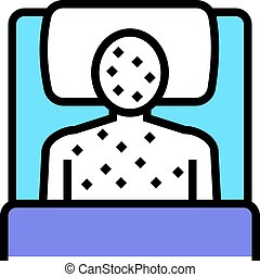 illness human with rash in bed color icon vector illustration