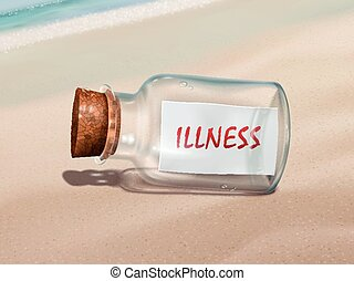 illness message in a bottle isolated on beautiful beach