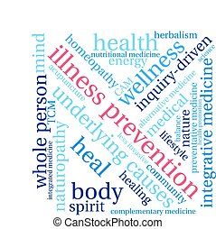 Illness Prevention word cloud on a white background.