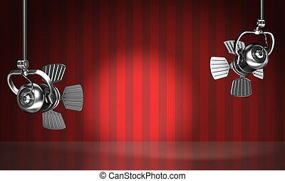 illuminare, riflettori, rosso, scena