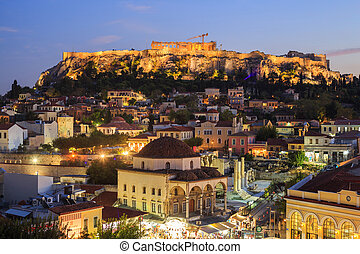 Illuminated Acropolis rock. Athens, Greece.