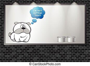 Illuminated advertising billboard dog food advert - ...