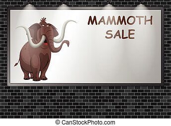 Illuminated advertising billboard with mammoth sale advertisement with copy space for own text and graphics