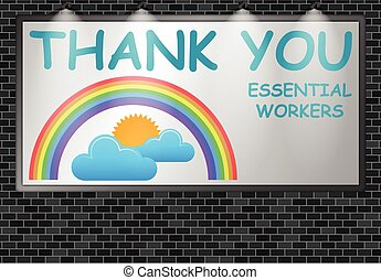 Illuminated advertising billboard thank you essential workers