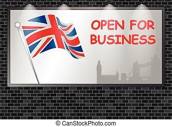 Illuminated advertising billboard UK open business