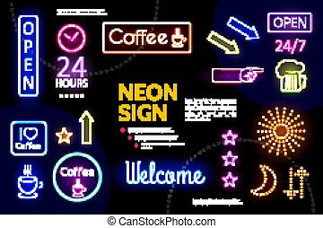 Illuminated Advertising Neon Signs Composition