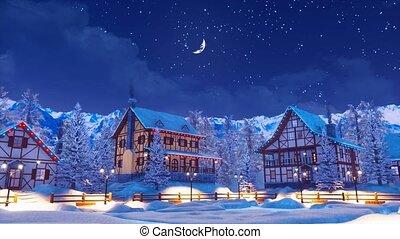 Illuminated alpine mountain town at winter night 4K - Cozy...