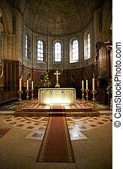 illuminated altar - inside public free access church in...