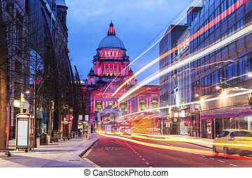 Illuminated Belfast City Hall. Belfast, Northern Ireland, United Kingdom.
