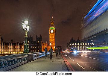 Illuminated Big Ben the House of Parliament at Night