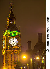Illuminated Big Ben the House of Parliament at Night