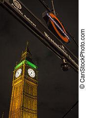 Illuminated Big Ben the House of Parliament at Night under the U