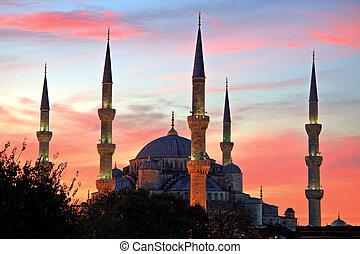 Illuminated Blue Mosque at Sunrise, Istanbul