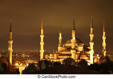Illuminated Blue Mosque in Istanbul at night