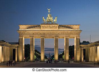 Illuminated Brandenburg Gate in Berlin from the Eastern side...
