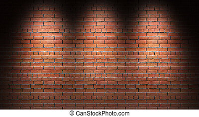 Illuminated brick wall. 3d render.