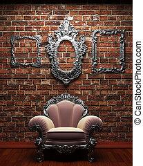 illuminated brick wall and chair