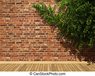 illuminated brick wall and ivy