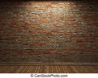illuminated brick wall - illuminated brick wall made in 3D...