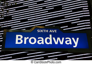 Illuminated Broadway street sign in New York City