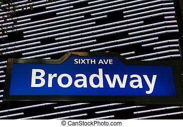 Illuminated Broadway street sign in New York City