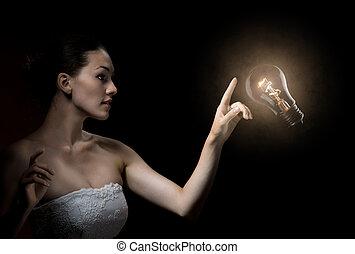 illuminated bulb - a beauty lady with a lot of idias