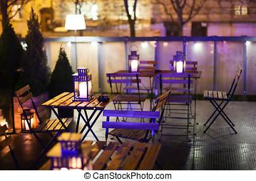 Illuminated caffe tables - A view of the illuminated coffee ...