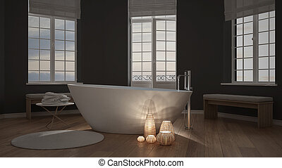 Illuminated candles inside a minimalist bathroom, spa zen...