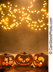 Illuminated carved halloween pumpkins lanterns - Picture of...